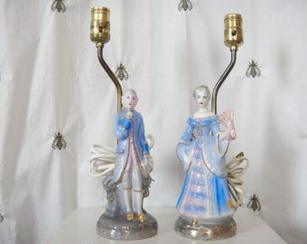 Vintage Victorian Man & Woman Lamps, Signed Porcelain, Hand Decorated Blue, Pink, Gold, Vanity, Renee China, Shabby, Cottage