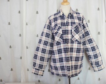 33% Off with VINTAGEHOLIDAYS coupon code Vintage Men's Flannel Work Shirt with Quilted Lining, Navy Blue, White, Red, Plaid, The