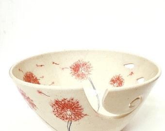 Red Dandelion Spiral Large Ceramic Wheel Thrown Yarn Bowl - MADE TO ORDER