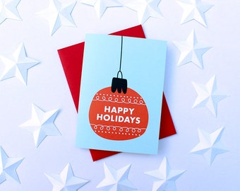 One Holiday Ornaments Greeting Cards in blue and red stationery winter