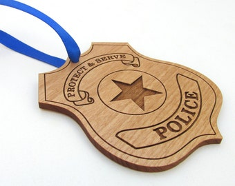Police Wooden Christmas Ornament - Police Officer Christmas Gift - Personalized Wood Policeman Ornament