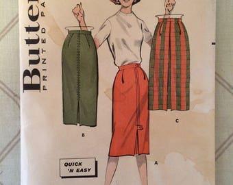 Vintage 1950's Women's Butterick 6167 Sewing Pattern Waist 24 Hip 33 - OH - 1960s Pattern / 60s Skirt Pattern / Sewing Pattern