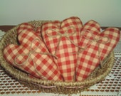 Primitive Valentine Heart Ornies Set of 5