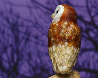 Barn Owl Lampwork glass wildlife sculpture and bead by Cleo Dunsmore Buchanan - GramaTortoise 48 art sculpture wildlife art collectible