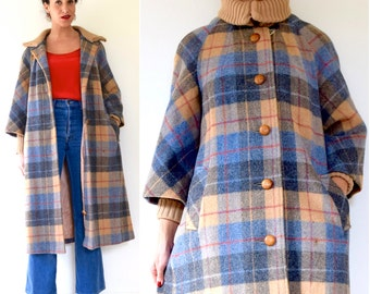 SPRING SALE/ 20% off Vintage 60s 70s Walk in Central Park in Fall Plaid Wool Trench Coat (size medium, large)