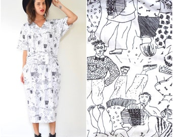 Vintage 90s People on the Street Black and White Novelty Doodle Print Pullover Cotton Midi Dress