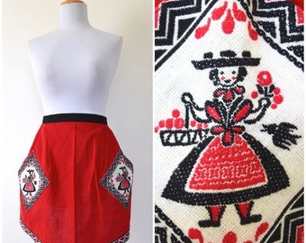 FLASH SALE / 20% off Vintage 60s 70s A Tisket A Tasket Red Apron with Embroidered Pockets and Trim