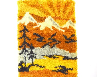 SPRING SALE/ 20% off Vintage 60s 70s Mountain Scene Latch Hook Wall Hanging