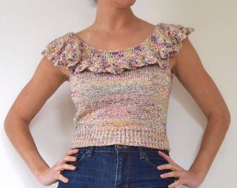 SPRING SALE / 30% off Vintage 70s 80s Metallic Knit Cropped Blouse with Ruffled Neckline (size xs, small)
