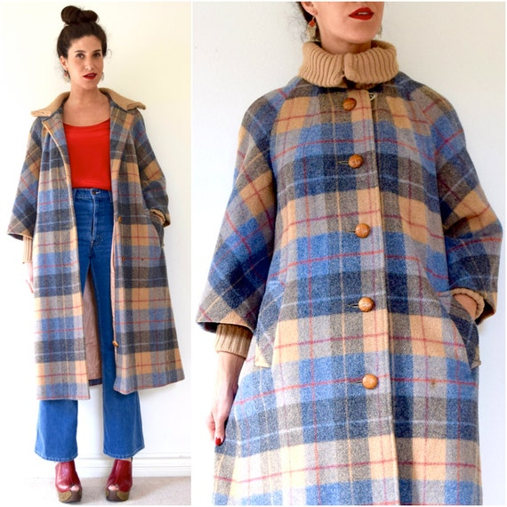Vintage 60s 70s Walk in Central Park in Fall Plaid Wool Trench Coat (size medium, large)