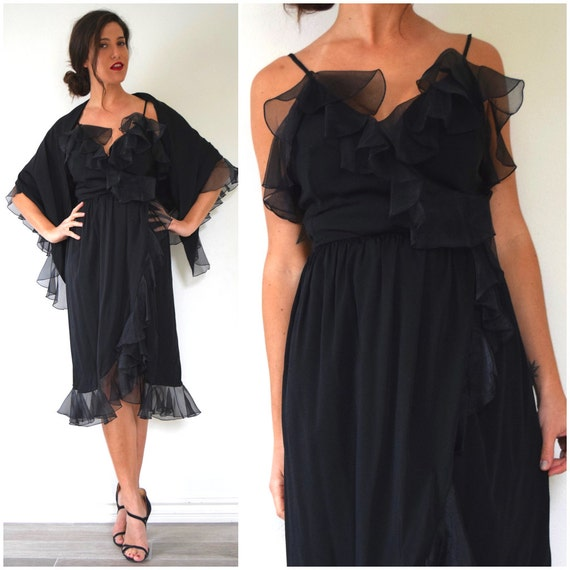 Vintage 70s Black Ruffled Wrap Dress with Matching Triangle Shawl