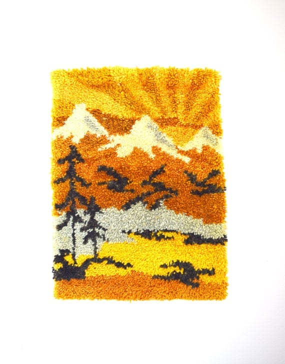Vintage 60s 70s Mountain Scene Latch Hook Wall Hanging