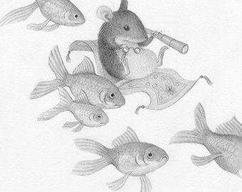 Mouse Drawing Black and White Pencil Nature Illustration Whimsical