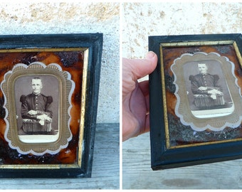 Vintage Antique 1850 /1900 Victorian French  brown under glass painted photo frame /man /military
