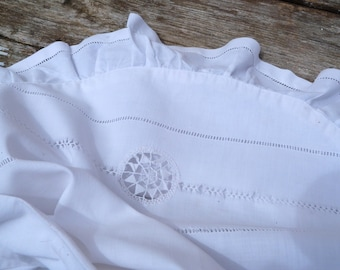 Vintage antique 1900s French white cotton fabric and lace ruffled baby child pillow case