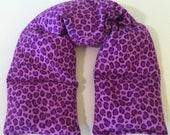 """Microwavable Wrap -24x5""""Rice Flaxseed, Lavender, Scented or Unscented, Soft Purple Leopard Flannel Fabric"""