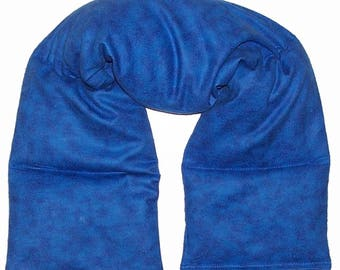 """Microwave Heating Pad, 28x5"""" Long Wrap, Rice Flaxseed, Hot Cold Pack, Headache Helper, Neck Shoulder Back, Blue Flannel Fabric"""