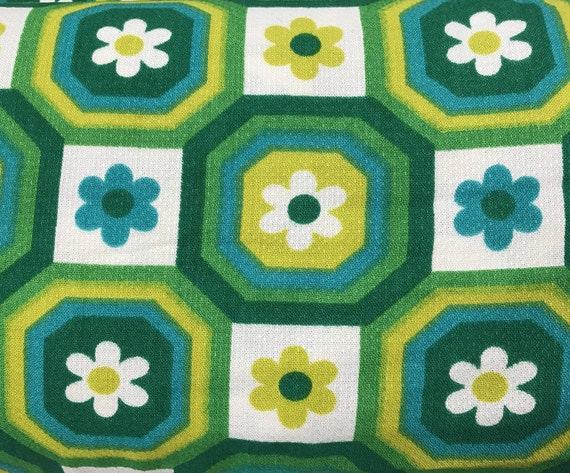 Unused Vintage Fabric By The Yard 70s Fabric Barkcloth