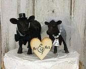 Cow Cake Topper-Black Angus Cows-Barn Wedding Cake Topper-Animal Cake Topper-Farm Couples