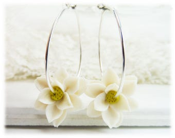 Magnolia Hoop Earrings - Flower Hoop Earrings, Magnolia Jewelry Collection