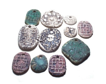 11 Ceramic Pendants Rustic Ancient Stoneware Fantasy Mix Magical Tribal Ethnic Celtic Mystical Metaphysical Textured Designs Large & Small