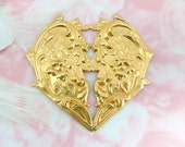 BRASS Large Victorian Floral Heart Stampings ~ Jewelry Finding ~ Brass Stamping (FC-10)
