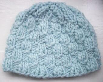 Pale ice blue beanie, soft chunky wool, knit hat, women's winter hat