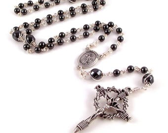 Pope Francis | St Francis Rosary Beads In Gray Hematite With Crown of Thorns Nail Crucifix by Unbreakable Rosaries