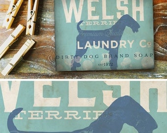 Welsh Terrier Dog Laundry Company illustration graphic art on canvas panel  by stephen fowler