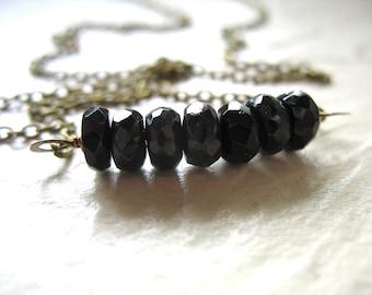 Tourmaline Necklace, Faceted Black Tourmaline Gemstone Necklace, Gemstone Necklace, Black Tourmaline, Handmade Jewelry
