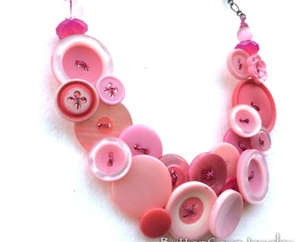 OOAK Pink Vintage Button Statement Bib Necklace