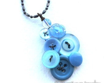 Light Blue Button and Bead Pendant Necklace