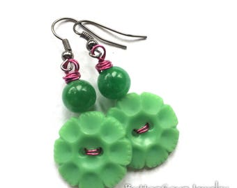 Bright Green Flower Vintage Button Jewelry - Pop of Color