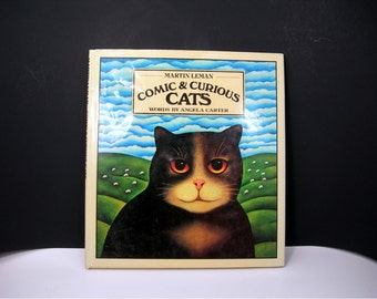 Comic and Curious Cats Book, Art by Martin Leman, Words by Angela Carter, 1979, Colorful Pictures to Frame, Cat Poems, Coffee Table Book,