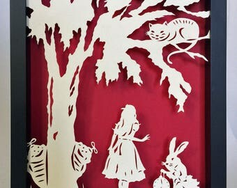 Sale 20% Off // ALICE in WONDERLAND Papercut in Shadow Box, Framed - Hand-Cut Silhouette // Coupon Code SALE20