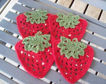 Set of 4, Strawberries, Hot Pads,Pot Holders,Dishcloths,Decoration,Gifts,Crocheted,100% Cotton