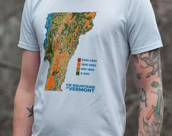 VERMONT Topo Map shirt screenprinted tee 100% cotton mens shirt