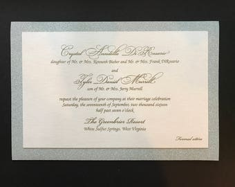 Crystal's Glittering Thermography Wedding Invitation - SAMPLE