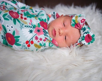 Coral & Mint Floral Flowers Swaddle and Knot Headband - newborn