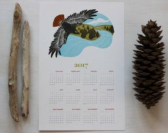 2017 Calendar, Letterpress Wall Calendar, New Years, Poster Calendar, Linocut Print, Year at a Glance, Landscape Art, Red-Tailed Hawk Print