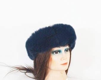 Midnight blue fox fur headband scarf