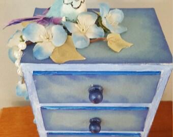 Shabby Chic Decorated Powder Blue, box, shabby decor, box, jewelry box