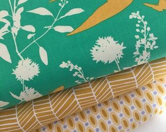 Bird fabric, Modern fabric, Herringbone fabric, Joel Dewberry, Mustard Decor, Emerald Fabric, Bright fabric- Bundle of 3, Choose The Cut