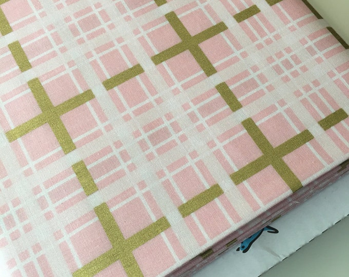 Modern Baby Quilt Fabric, Pink Gold Nursery Fabric, Gold Baby Decor, Cloud Mobile fabric, Skies Are Gray, Plaid in Pink, Choose the Cut