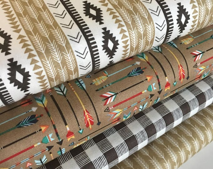 Tribal fabric Bundle, Brown fabric, Quilting fabric, Cotton Fabric by the Yard, High Adventure Fabric, Riley Blake- Fabric Bundle of 4
