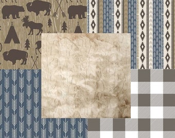 Rustic Tribal Buffalo Plaid Hide Minky Woodland Deer Bear Arrows Blue Beige Tan & Brown Baby Nursery Crib Bedding Set CHOOSE and CUSTOMIZE