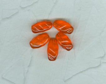 5 Screaming Orange Vintage Glass Oval Beads German 21 mm
