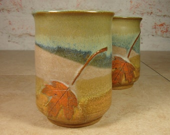 Handmade Ceramic Tumblers - Treehugger Tumblers - Set of two with Maple Leaves