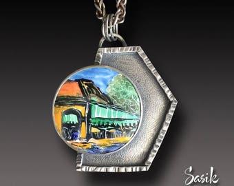 Cafe Du Monde New Orleans Enamel  Pendant Sterling Silver Necklace with Enameled Centerpiece