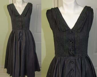 Vintage 1950's Saks Fifth Avenue Black Cotton Swing Dress